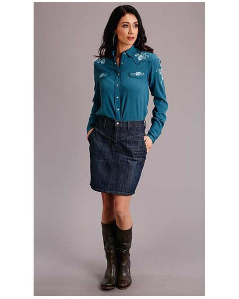 Stetson Women's Dark Denim Skirt , Blue, hi-res