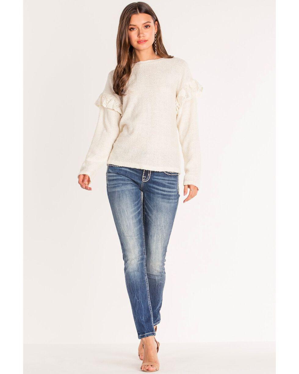 Miss Me Women's Classic Chic Border Stitch Skinny Jeans , Blue, hi-res