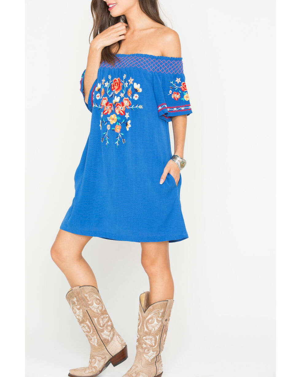 Miss Me Women's Floral Embroidered Off The Shoulder Dress, Blue, hi-res