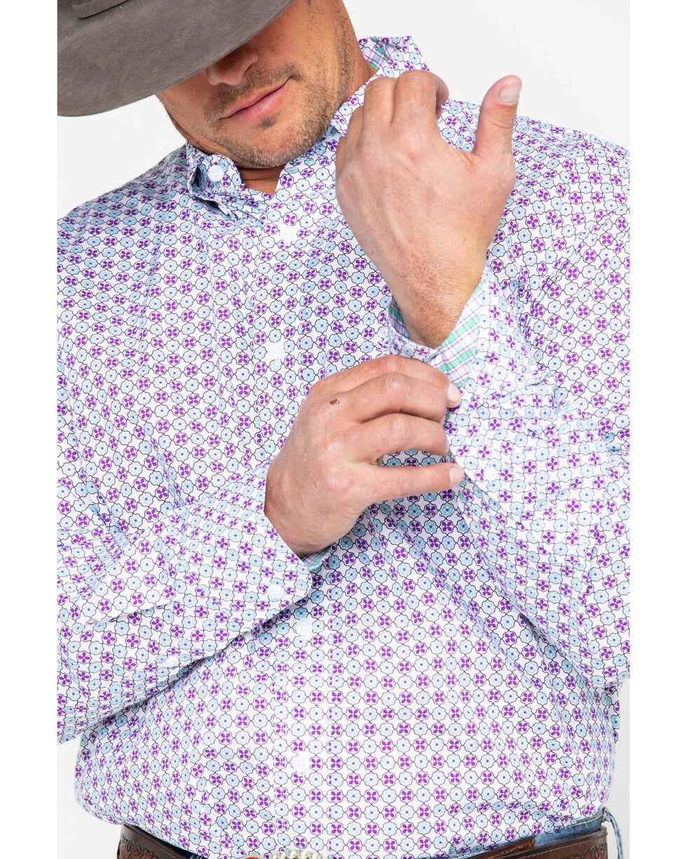 George Strait by Wrangler Purple Geo Print Long Sleeve Western Shirt , Purple, hi-res