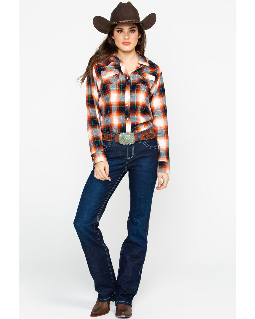 Ely Cattleman Women's Plaid Spice Flannel Shirt, Rust Copper, hi-res