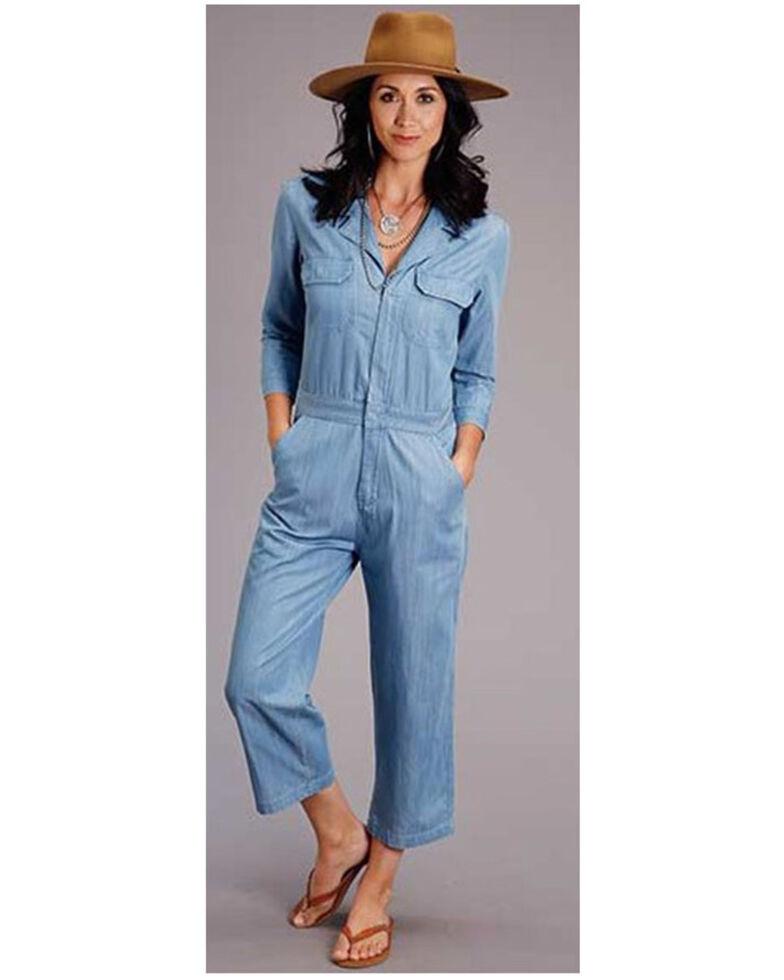 Stetson Women's Blue Chambray Tencel Jumpsuit, Blue, hi-res