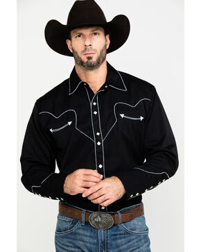 Scully Men's Black Long Sleeve Western Shirt , Black, hi-res