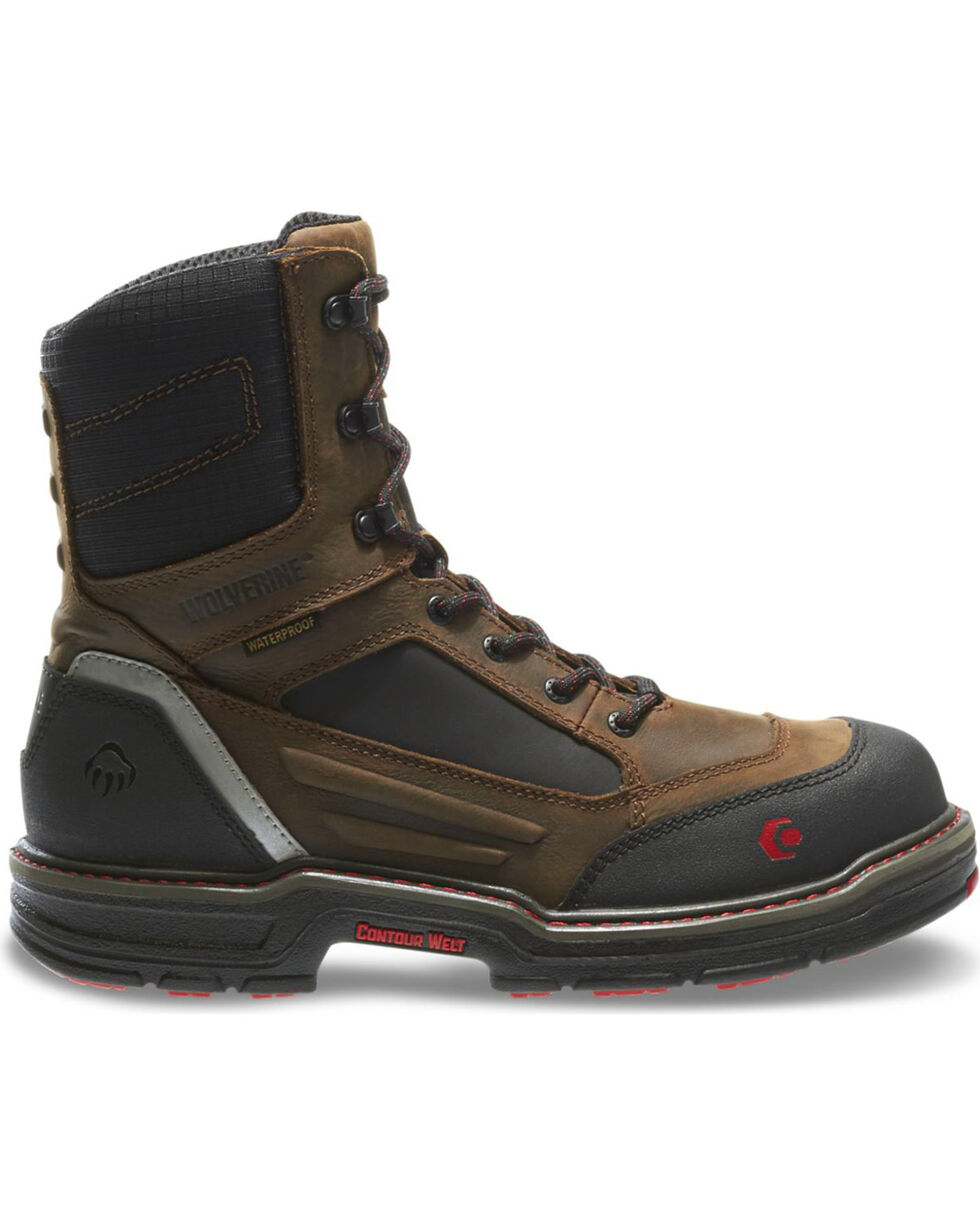 "Wolverine Men's Overman 8"" Lace-Up WP Comp Toe Work Boots, Black/brown, hi-res"