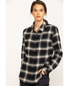Dovetail Workwear Women's Plaid Givens Long Sleeve Work Shirt, Black, hi-res