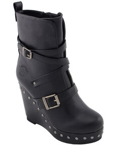 Milwaukee Leather Women's Triple Strap Wedge Boots - Round Toe, Black, hi-res