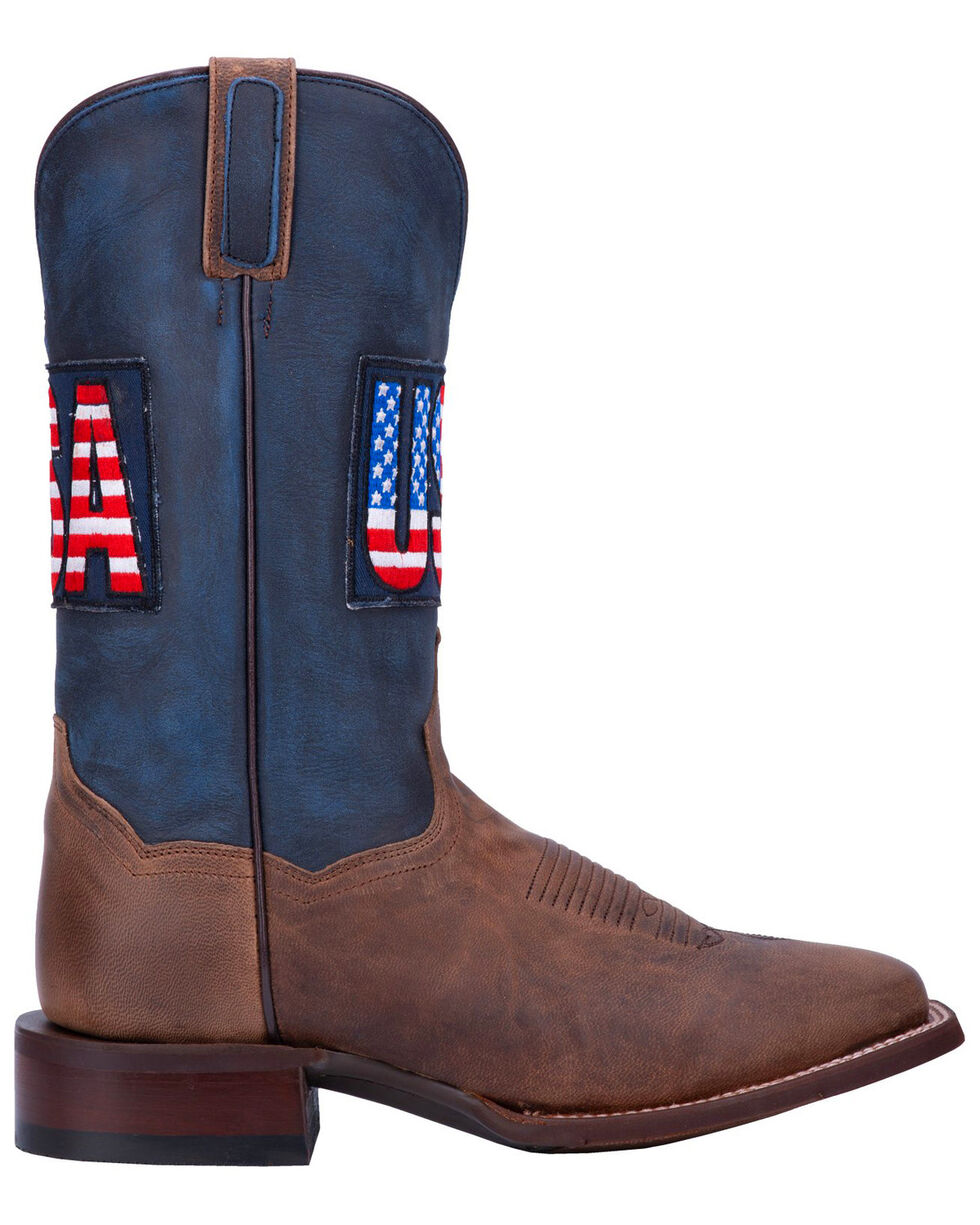 Dan Post Men's USA Sand Goat Western Boots - Wide Square Toe, Brown, hi-res