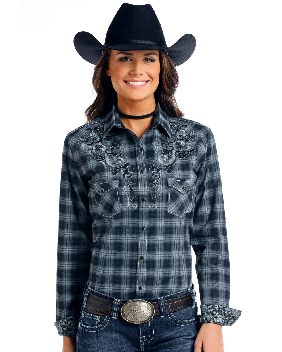 Panhandle Women's Rough Stock Bleeker Plaid Long Sleeve Western Shirt, Black, hi-res