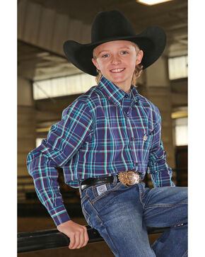 Cinch Boys' Med Plaid Long Sleeve Western Shirt , Navy, hi-res