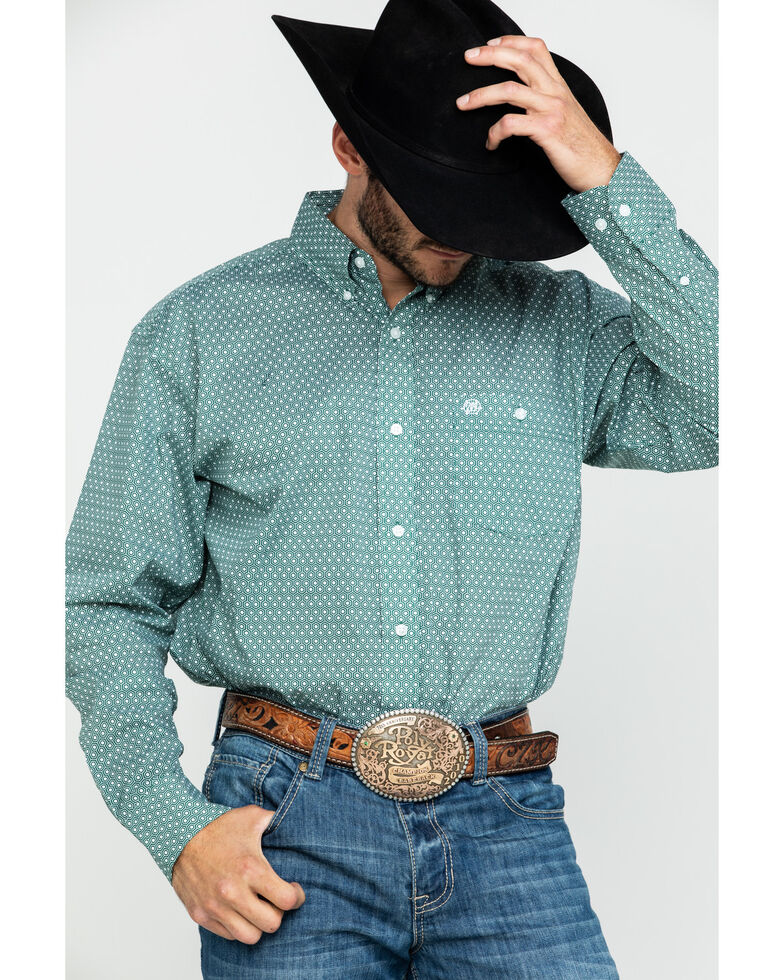 Wrangler Men's Classic Forest Geo Print Long Sleeve Western Shirt , Forest Green, hi-res
