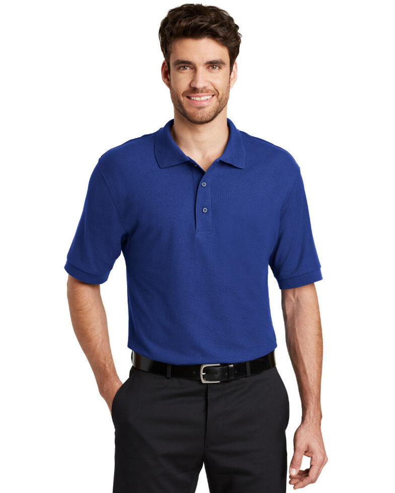 Port Authority Men's Silk Touch Short Sleeve Polo Shirt - Tall , Royal Blue, hi-res