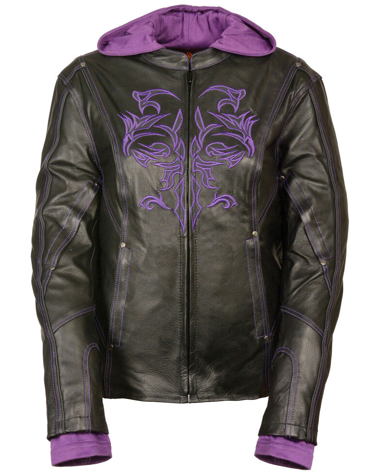 Milwaukee Leather Women's 3/4 Leather Jacket With Reflective Tribal Detail - 3X, Black/purple, hi-res