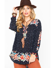 Johnny Was Women's Floral Top, Black, hi-res