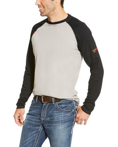 Ariat Men's FR Baseball Tee - Big, Grey, hi-res