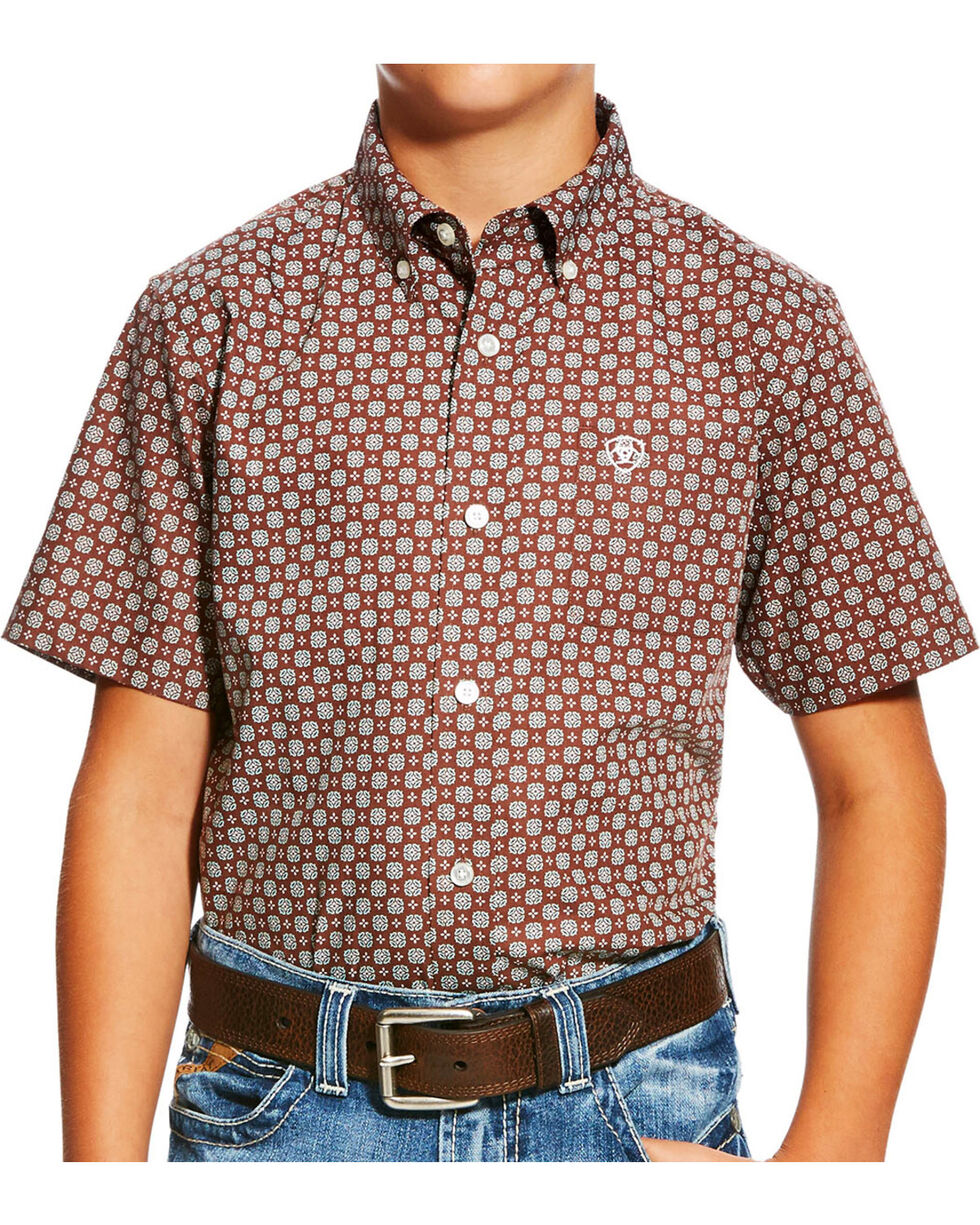 Ariat Boys' Brown Nixon Print Western Shirt , Brown, hi-res