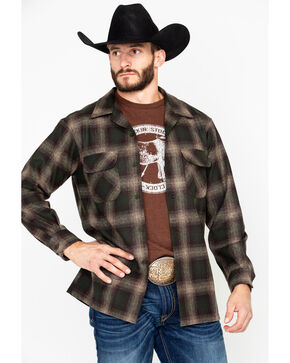 Pendleton Men's Board Plaid Long Sleeve Western Flannel Shirt , Brown, hi-res