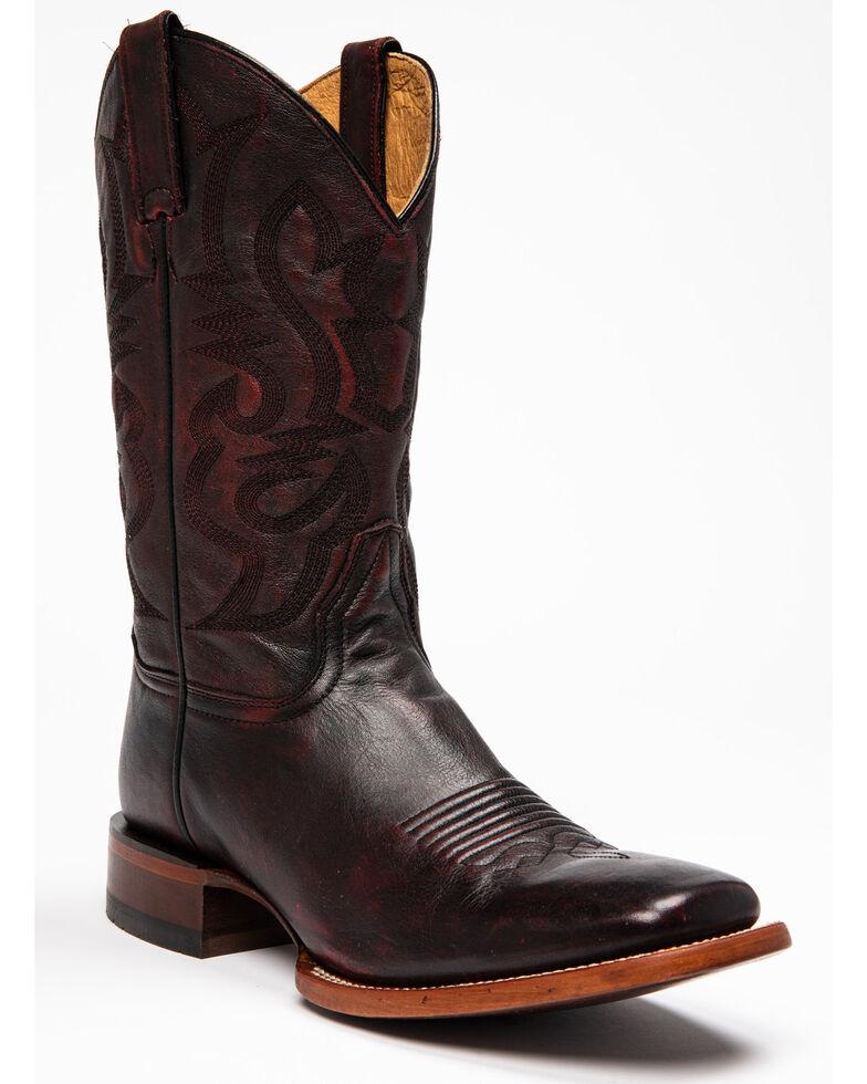Cody James Men's Jockey Western Boots - Wide Square Toe, Black Cherry, hi-res