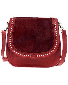 Montana West Delila Saddle Bag 100% Genuine Leather Hair-On Hide Collection , Burgundy, hi-res