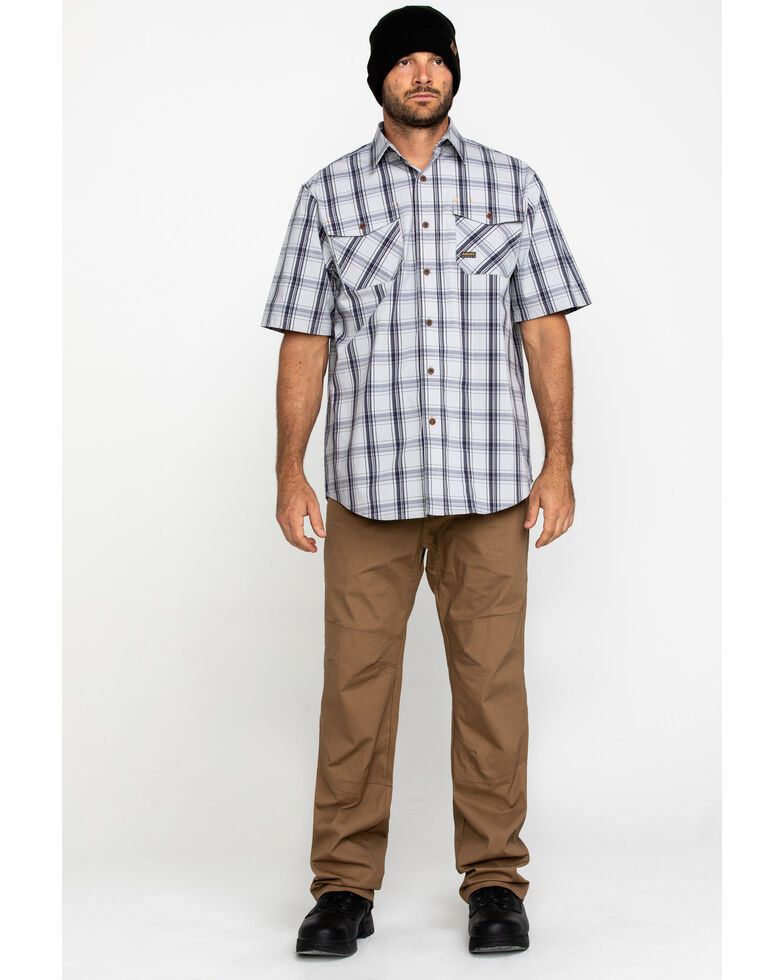 Ariat Men's Grey Plaid Rebar Made Tough Short Sleeve Work Shirt - Tall , Dark Grey, hi-res