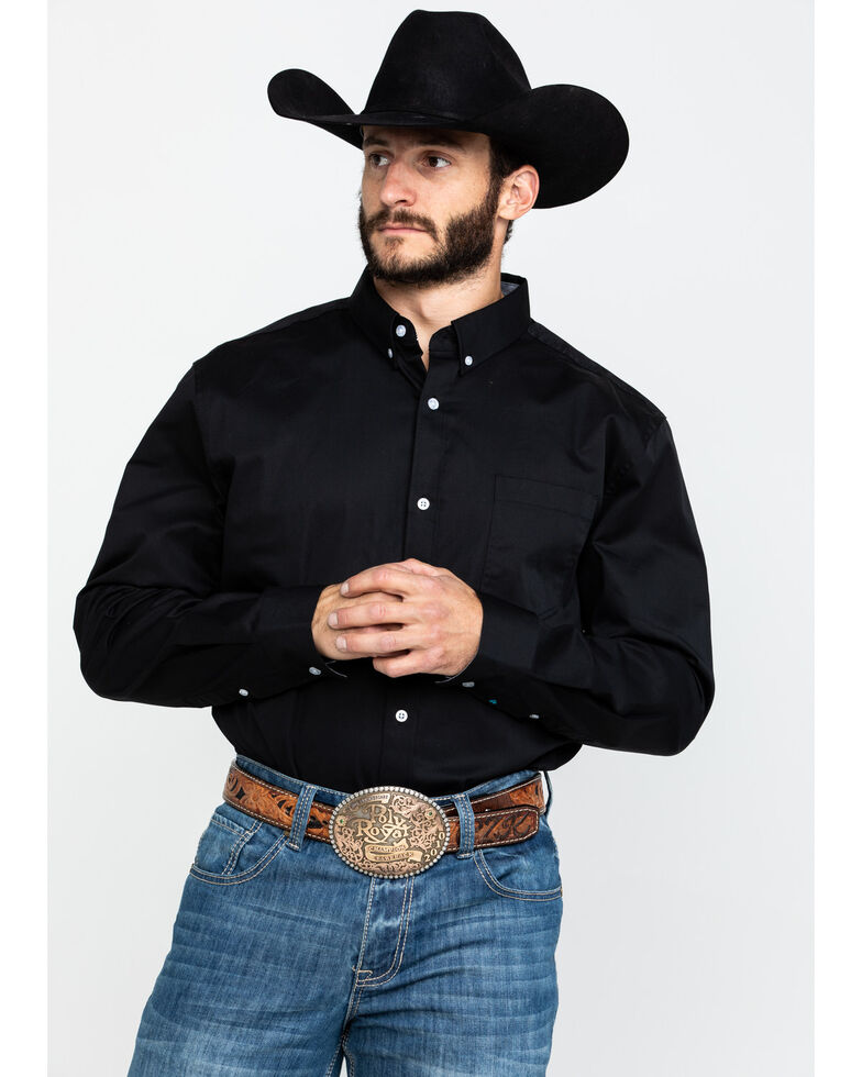 Cody James Core Black Solid Performance Twill Long Sleeve Western Shirt , Black, hi-res