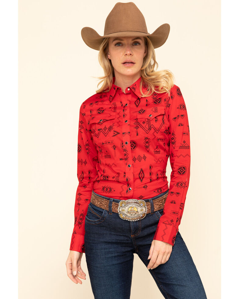 Wrangler Retro Women's Red Aztec Long Sleeve Western Shirt, Red, hi-res
