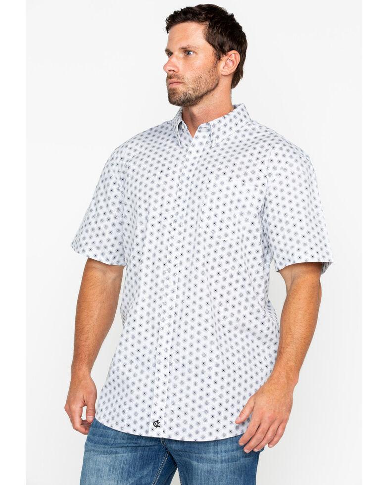 Cody James Core Men's White Orbit Print Short Sleeve Western Shirt, White, hi-res