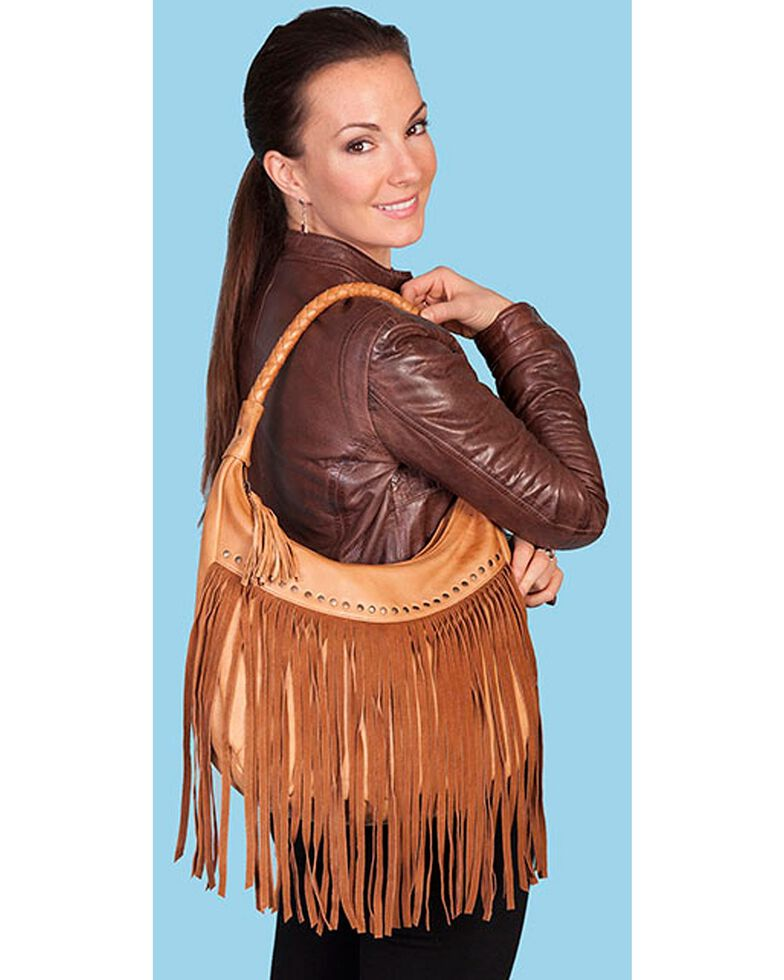 Scully Women's Long Fringe Leather Handbag, Tan, hi-res