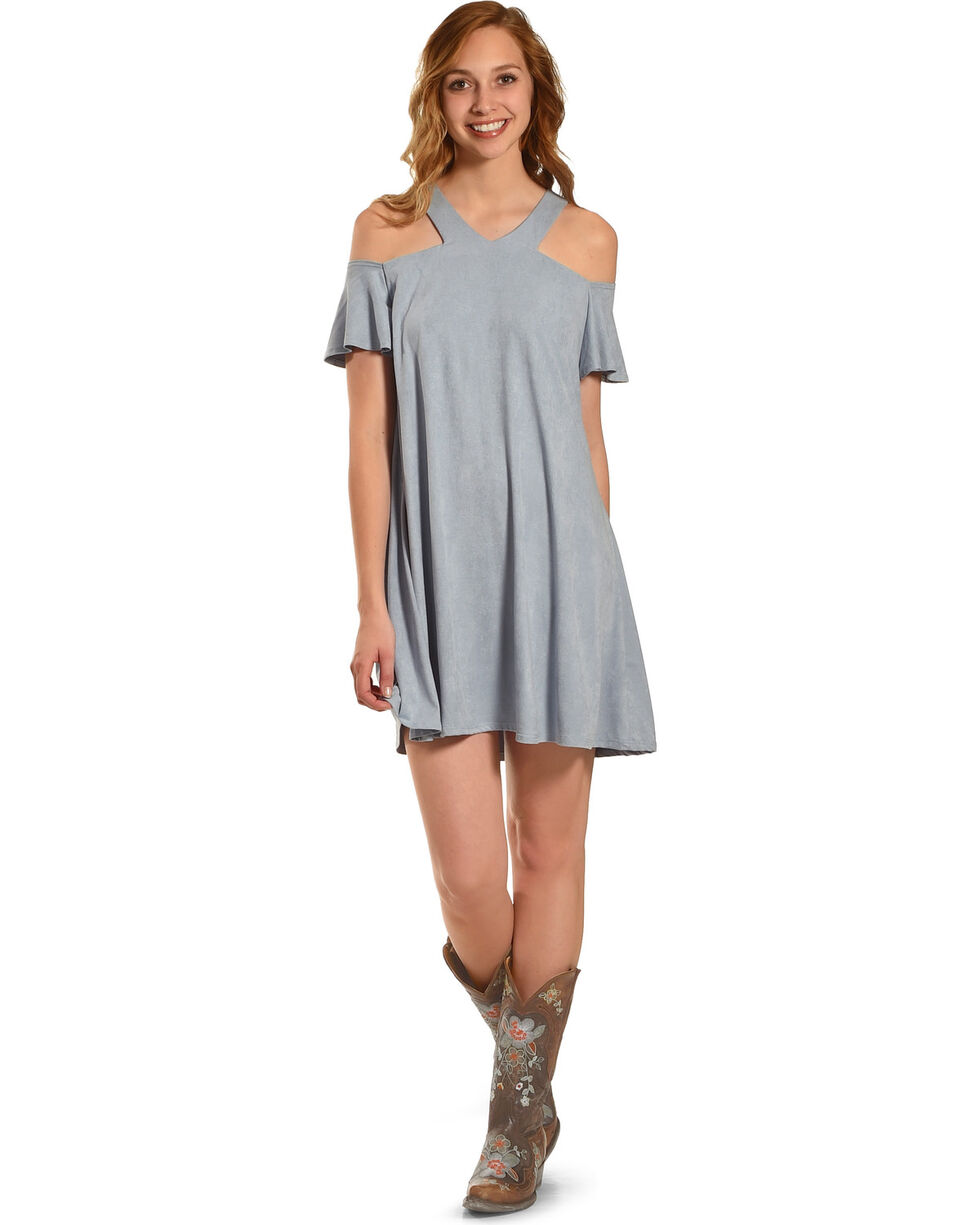 Jody of California Women's Cold Shoulder Micro Suede Dress , Blue, hi-res