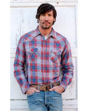 Ryan Michael Men's Frost Jaspe Plaid Shirt, Indigo, hi-res