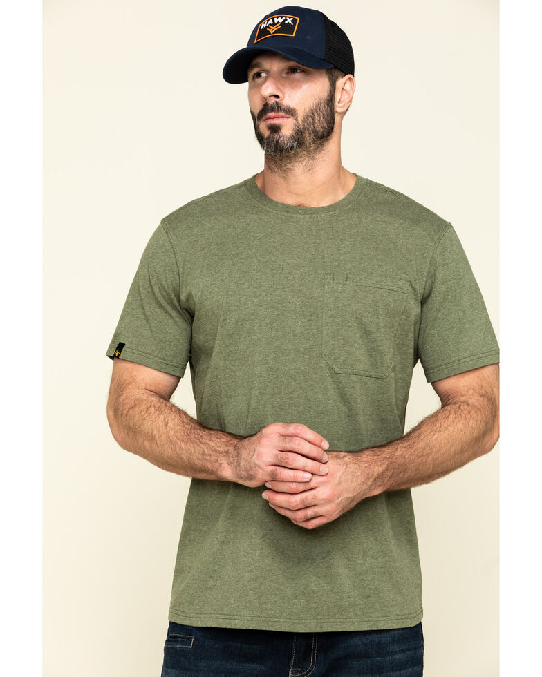 Hawx Men's Olive Solid Pocket Short Sleeve Work T-Shirt , Olive, hi-res