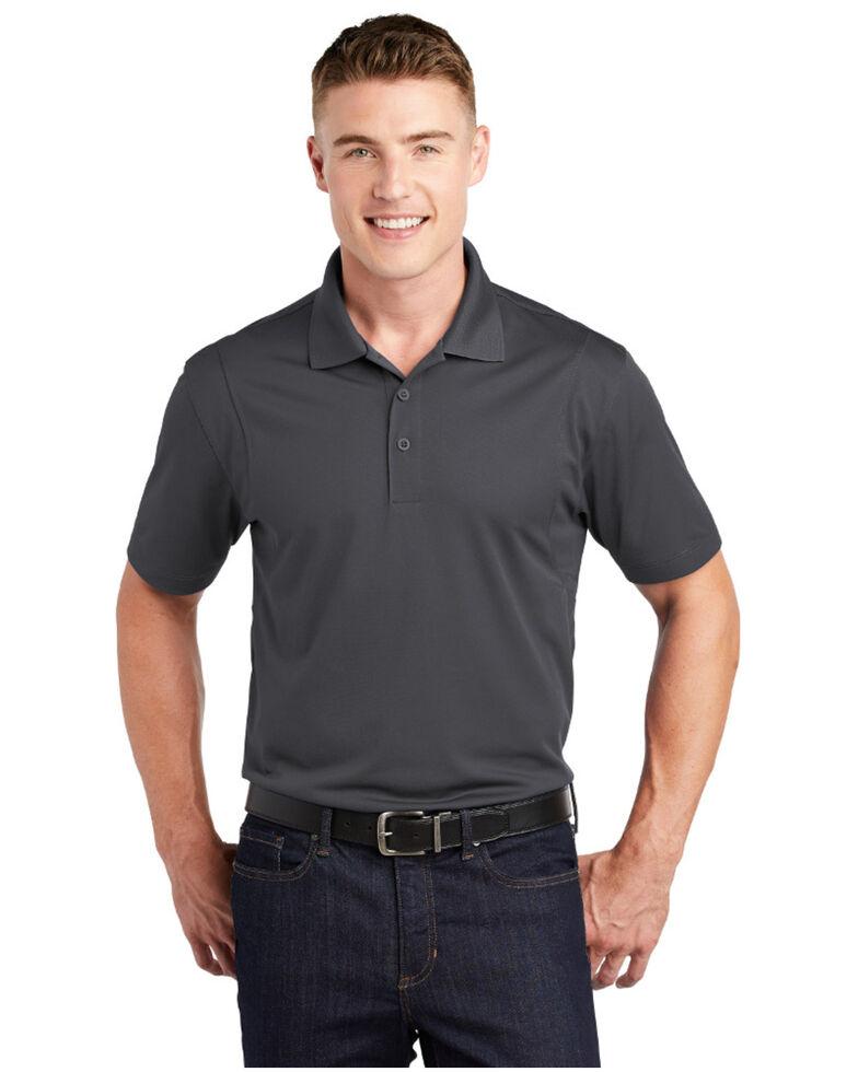 Sport Tek Men's Micro Sport Wick Short Sleeve Polo Work Shirt Iron Grey, Grey, hi-res