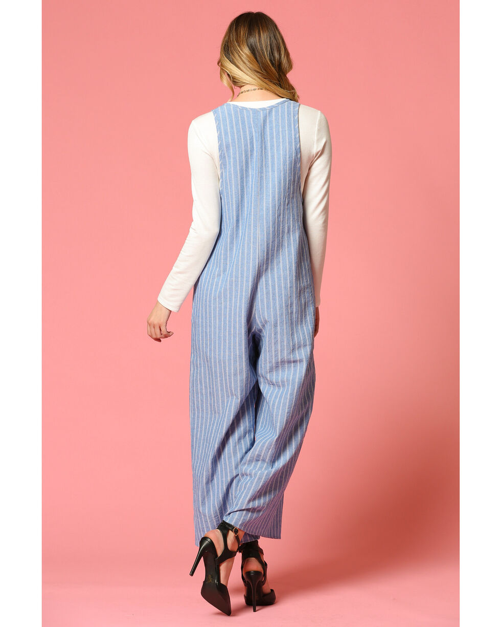 CES FEMME Women's Blue Striped Jumpsuit , Blue, hi-res