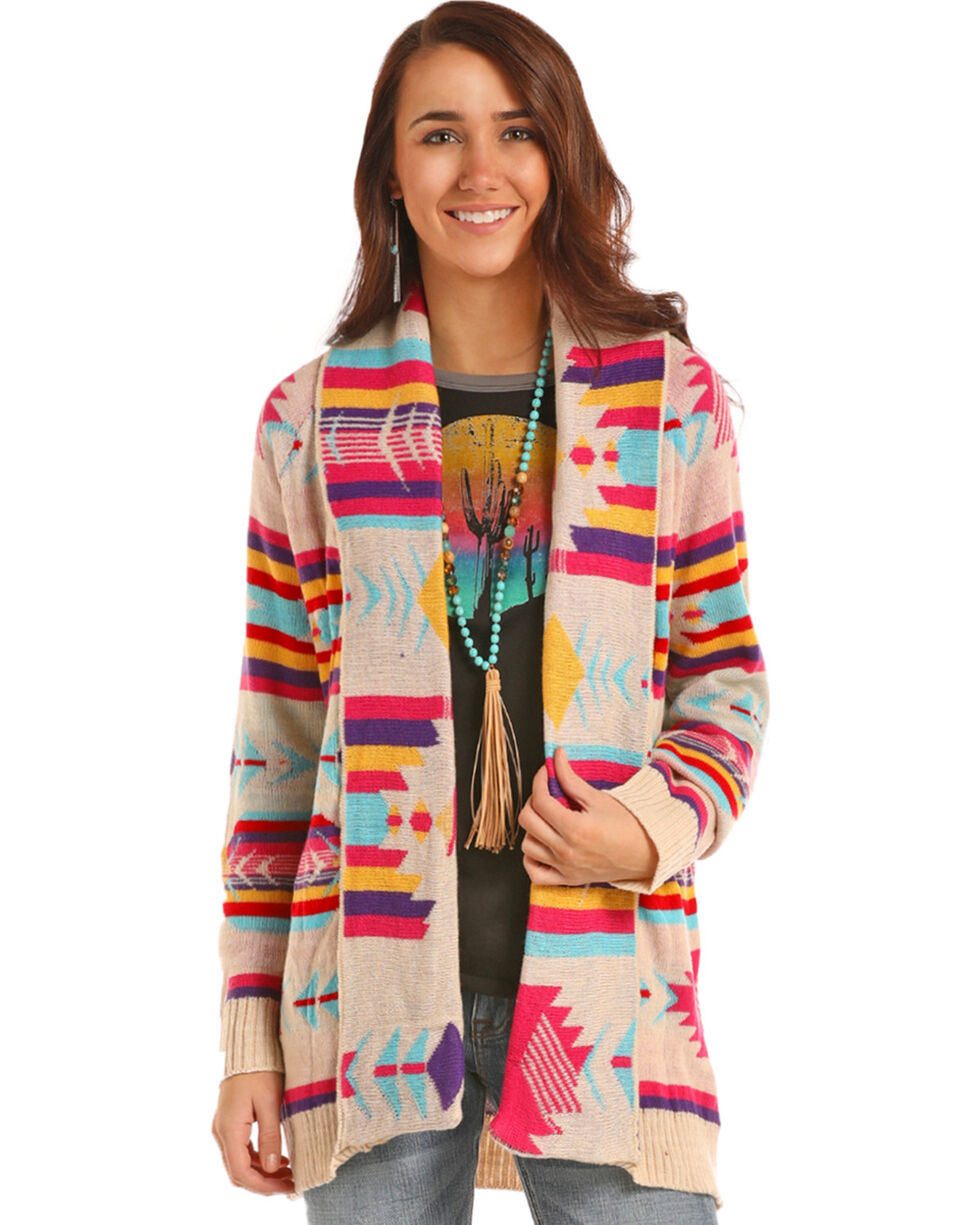 Rock & Roll Cowgirl Women's Colorful Aztec Cardigan, Multi, hi-res