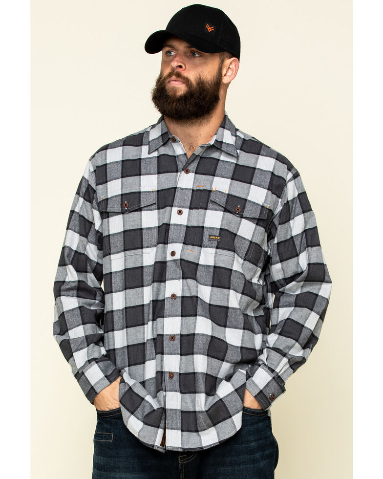 Ariat Men's Grey Heather Rebar Flannel Durastretch Plaid Long Sleeve Work Shirt , Grey, hi-res