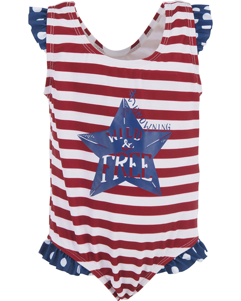 Browning Toddler Girls' Patriotic Swimsuit , Red, hi-res
