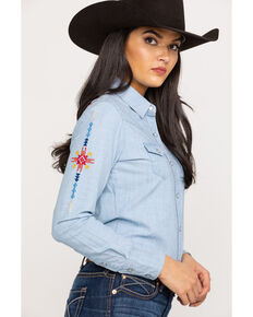 Rock & Roll Cowgirl Women's Tribal Embroidery Lurex Snap Long Sleeve Western Shirt, Blue, hi-res