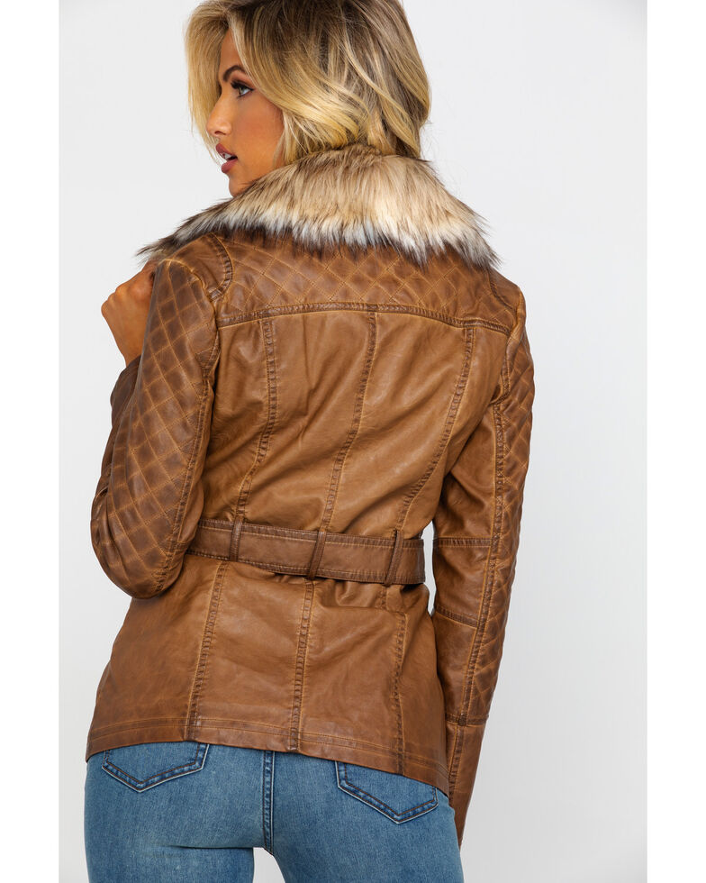 Honey Creek by Scully Women's Faux Fur Trim Jacket , Brown, hi-res