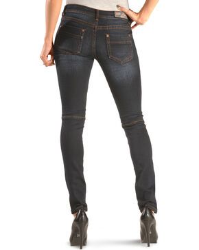 Grace in LA Women's Dark Moto Skinny Jeans , Indigo, hi-res