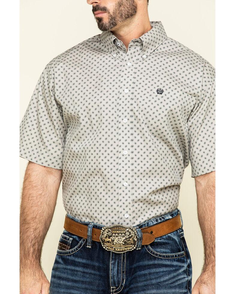 Cinch Men's Grey Small Paisley Print Short Sleeve Western Shirt , Grey, hi-res