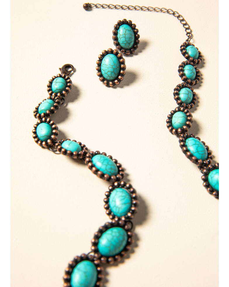 Shyanne Women's Willow Moon Turquoise Stone Set, Rust Copper, hi-res