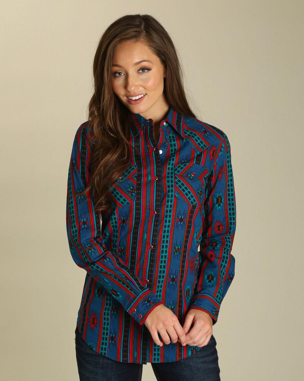 Wrangler Women's Aztec Print Pearl Snap Western Shirt, Turquoise, hi-res