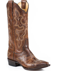 Stetson Women's Burnished Brown Jess Embroidered Western Boots - Snip Toe, Brown, hi-res