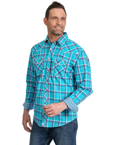 Wrangler 20X Men's Advanced Comfort Large Plaid Long Sleeve Western Shirt - Tall , Turquoise, hi-res