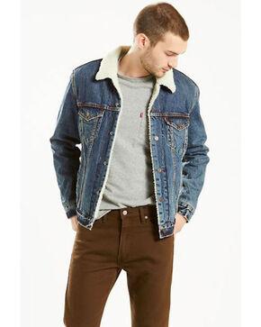 Levi's Men's Sherpa Trucker Button Denim Jacket , Medium Blue, hi-res