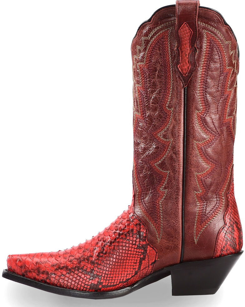 Dan Post Women's Red Back Cut Python Triad Cowgirl Boots - Snip Toe , Red, hi-res