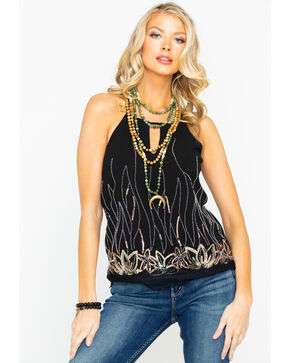 Miss Me Women's Sequin Tank Top, Black, hi-res