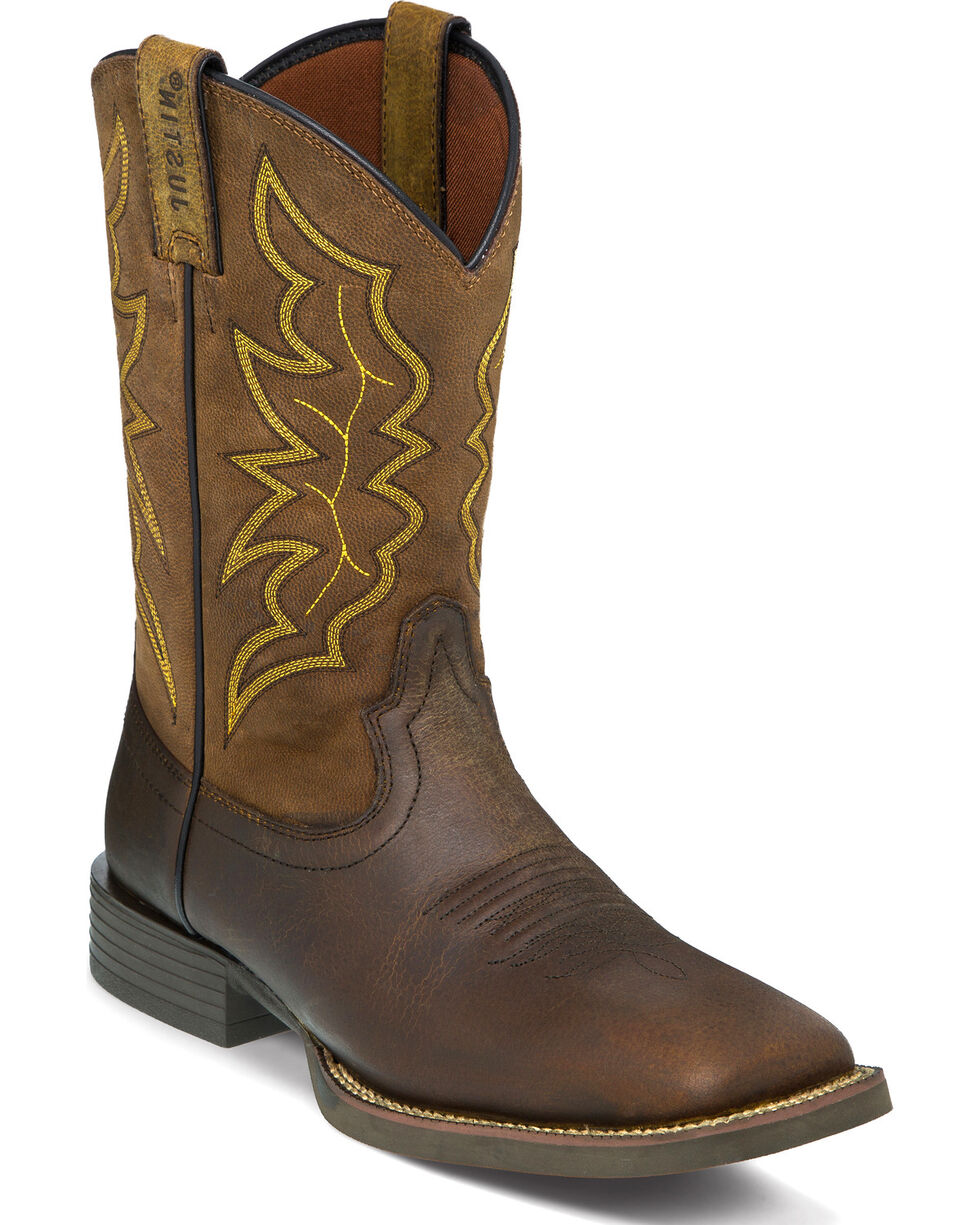 "Justin Men's 11"" Milled Stampede Western Boots, Brown, hi-res"