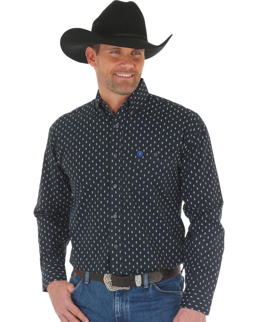 George Strait by Wrangler Men's Printed Poplin Long Sleeve Western Shirt , White, hi-res