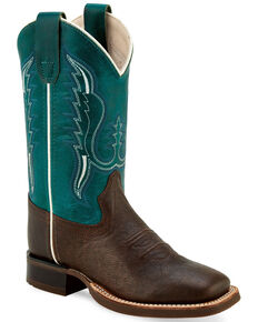 Old West Girls' Brown Teal Western Boots - Wide Square Toe, Brown, hi-res