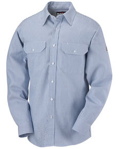 Bulwark Men's FR Mid-Weight Striped Long Sleeve Work Shirt, Blue, hi-res